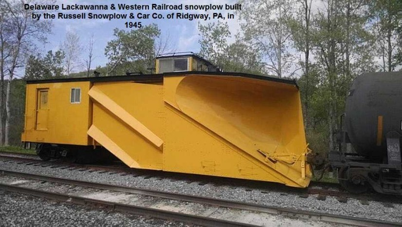 Delaware Lackawanna & Western #95904, a 45 ton double track snowplow built in 1945 by Russell Snowplow and Car Co. of Ridgway, PA.